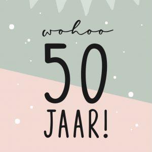 Bloemenkaartjes 'Wohoo 50 jaar'